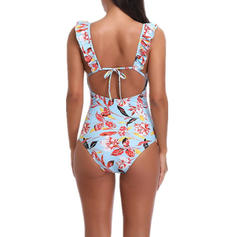 Floral U Neck Beautiful One-piece Swimsuits
