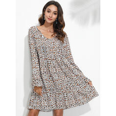 Leopard Long Sleeves Shift Knee Length Casual Tunic Dresses