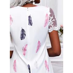 Nadruk Krótkie rękawy Suknie shift Nad kolana Nieformalny Tunika Sukienki