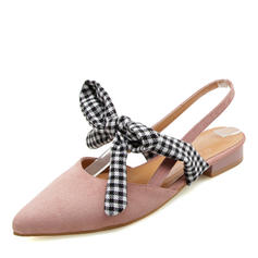 Women's Suede Flat Heel Sandals Closed Toe With Bowknot shoes