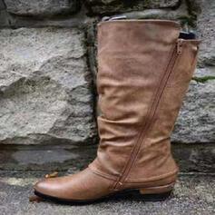 Frauen PU Stämmiger Absatz Stiefel-Wadenlang mit Reißverschluss Schuhe