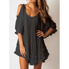 Solide 1/2 Mouwen/Cold Shoulder Mouw Shift Boven de knie Zwart jurkje/Casual/Elegant Jurken