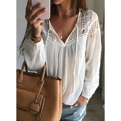 Lace V Neck Long Sleeves Casual Elegant Blouses