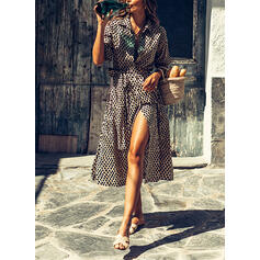 Print/Leopard 3/4 Sleeves A-line Casual/Vacation Midi Dresses