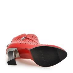 Mulheres Couro Salto robusto Botas Bota no tornozelo com Strass Zíper Oca-out sapatos