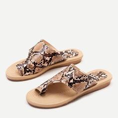 Femmes Similicuir Talon plat Sandales À bout ouvert Chaussons avec La copie Animale chaussures