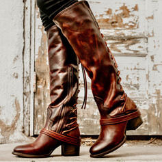 Women's PU Chunky Heel Pumps Closed Toe Boots Knee High Boots With Lace-up shoes