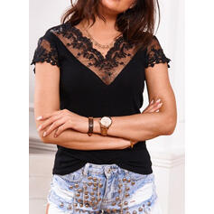 Solid Lace V-Neck Short Sleeves Casual Elegant Blouses