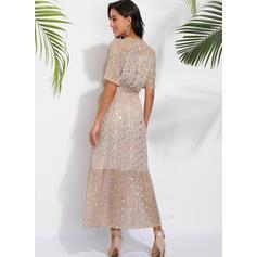 Print Short Sleeves A-line Wrap/Skater Casual/Boho/Vacation Maxi Dresses