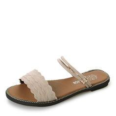 Women's Suede Flat Heel Sandals Flats Peep Toe Slingbacks Slippers shoes