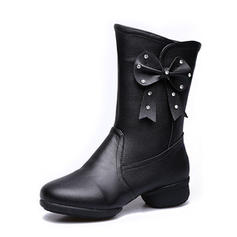 Women's Dance Boots Sneakers Real Leather With Flower Sneakers