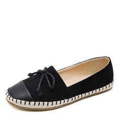 Frauen Kunstleder Flascher Absatz Flache Schuhe Geschlossene Zehe mit Bowknot Zuschnüren Schuhe