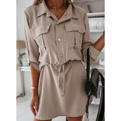 Solid Long Sleeves Sheath Above Knee Casual Shirt Dresses