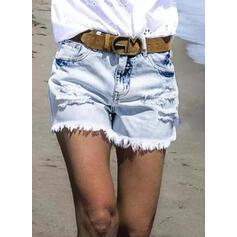 Treillis Décontractée Ancien Grande taille Tassel Poche déchiré Pantalon Short Jeans