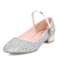 Frauen Funkelnde Glitzer Stämmiger Absatz Absatzschuhe Geschlossene Zehe Mary Jane mit Pailletten Schuhe