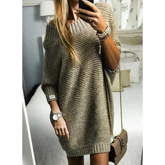 Solid Waffle Knit Chunky knit Round Neck Sweater Dress