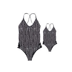 Mommy and Me Striped Matching Swimsuit