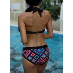 Print Push Up Halter Vintage Boho Bikinis Swimsuits