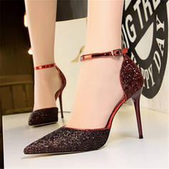 Women's Sparkling Glitter Stiletto Heel Sandals Pumps Closed Toe With Sequin Split Joint shoes