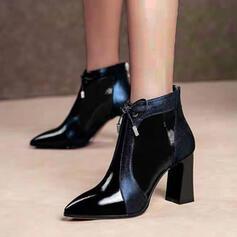 Frauen PU Stöckel Absatz Stämmiger Absatz Stiefelette mit Zuschnüren Schuhe