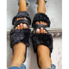 Dámské Samet Placatý podpatek Pantofle S Srst Pevný obuv