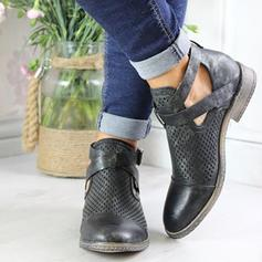 Women's PU Flat Heel Flats Closed Toe Boots Ankle Boots With Buckle Hollow-out shoes