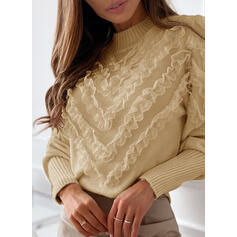 Solid Lace Crew Neck Casual Sweaters