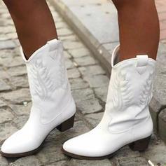 Femmes PU Talon bottier Escarpins Bout fermé Bottes Bottes mi-mollets chaussures