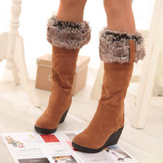 Women's PU Wedge Heel Mid-Calf Boots Snow Boots With Faux-Fur shoes