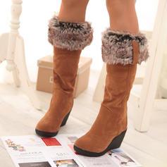Dla kobiet PU Obcas Koturnowy Kozaki do polowy lydki Buty zimowe Z Sztuczne Futro obuwie