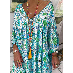 Print Long Sleeves Shift Knee Length Casual/Boho/Vacation Dresses