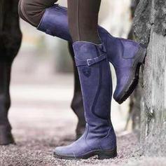 Frauen PU Niederiger Absatz Stiefel Kniehocher Stiefel Schuhe
