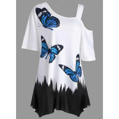 Print One-Shoulder Short Sleeves Casual Elegant Blouses