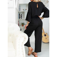 Solid 3/4 Sleeves Little Black/Casual/Elegant Jumpsuits Dresses