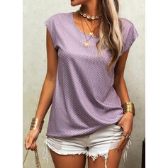 PolkaDot Round Neck Cap Sleeve Casual T-shirts