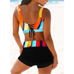 Stripe Print Splice color Strap V-Neck Sexy Vintage Bikinis Swimsuits