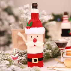 Wesołych Świąt Bałwan Święty Dzianina Pokrywa butelki