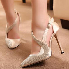 Women's PU Stiletto Heel Pumps Closed Toe With Beading shoes