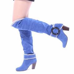 Donna PU Tacco spesso Stivali al ginocchio Stivali da equitazione con Fibbia scarpe