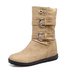 Mulheres Couro Salto baixo Fechados Botas Bota no tornozelo Botas na panturrilha com Rivet Fivela sapatos