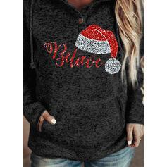 Sequins Figure Long Sleeves Christmas Sweatshirt