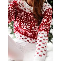 Drucken Weihnachten Rundhalsausschnitt Freizeit Weihnachten Pullover