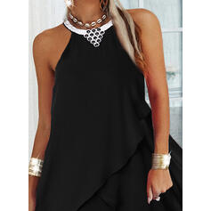Solid Sleeveless Shift Knee Length Little Black/Casual Dresses