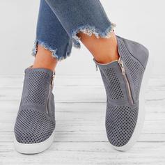 Kvinnor PU Kilklack Stövlar med Ihåliga ut skor