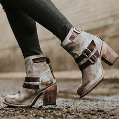 Femmes PU Talon bottier Escarpins Bout fermé Bottes avec Boucle Zip chaussures