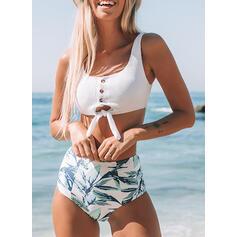 Wysoki stan push up W prążki Dekolt w kształcie litery U Świeży Bikini Stroje kąpielowe