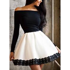 Koronka Długie rękawy W kształcie litery A Nad kolana Seksowna/Przyjęcie Sukienki
