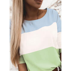 Color block Rund hals Lange ærmer Casual T-shirts