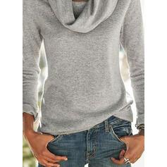 Solido Alto collo Maniche lunghe Casuale Maglieria Camicie