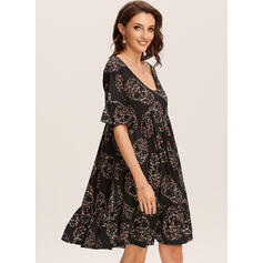 Print Short Sleeves Shift Above Knee Casual/Vacation Tunic Dresses
